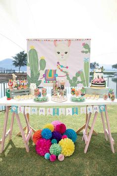 What an incredible Llama Birthday Party! The dessert table is so cute! What an incredible Llama Birthday 2nd Birthday Party Themes, 1st Birthday Girls, Birthday Party Decorations, First Birthday Parties, Birthday Ideas, Deco Baby Shower, Llama Birthday, Cactus, Party Ideas
