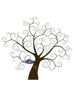Custom Fingerprint Tree Digital File by FindingJoyWithEster Bird Template, Tree Templates, Tree Stencil, Stencils, Fingerprint Tree, Cross Stitch Tree, Winter Trees, Tree Wedding, Diy For Teens