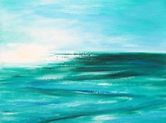 Abstract Sunset In Blue And Green 2 Painting by Gina De Gorna
