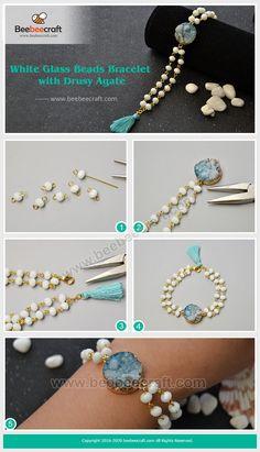 #Beebeecraft white #glassbeads #bracelet DIY Diy Jewelry Necklace, Jewelry Clasps, Tassel Jewelry, Beaded Jewelry, Handmade Jewelry, Beaded Bracelets, Necklace Chain, Embroidery Bracelets, Silver Bracelets