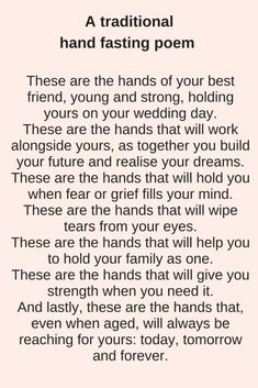 Whether you are having a religious ceremony or not, readings for weddings are integral and can add something that is profound and beautiful. For a church wedding, you will need … wedding readings The 17 Most Beautiful Readings for Weddings - Pagan Wedding, Wedding Poems, Our Wedding, Dream Wedding, Church Wedding, Modern Wedding Vows, Wedding Rustic, Best Wedding Vows, Renewal Wedding