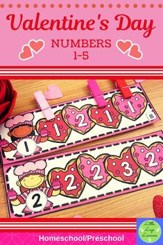 These Valentine's Day Number Lessons are the perfect addition for Math Centers for homeschool/ preschool. Preschool Centers, Numbers Preschool, Preschool Literacy, Preschool Lessons, Math Centers, Preschool Ideas, Pre K Activities, Valentine Activities, Valentine Crafts For Kids