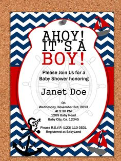 PRINTABLE INVITATION  Nautical Baby shower by AtomDesign on Etsy, $5.00