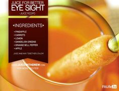 The Juice for Better Eyesight -- Ready to rock this out today? Make a glass of this to help you give a clearer and more healthy eyesight. Take care and love your eyes! Healthy Eyes, Healthy Detox, Healthy Smoothies, Healthy Drinks, Healthy Eating, Green Smoothies, Skin Whitening Foods, Homemade Beauty Recipes, Eye Sight Improvement
