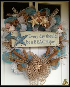 "Great idea to make. Seashell Deco Mesh and Burlap Wreath ""Everyday Should Be A Beach Day"" Seashell Crafts, Beach Crafts, Diy And Crafts, Seashell Wreath, Deco Marine, Summer Deco, Deco Mesh Wreaths, Burlap Wreaths, Burlap Ribbon"