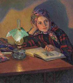 Reading girl – Nikolay Petrovich Bogdanov-Belsky