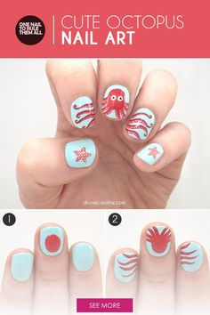 Everything is better down where it's wetter, even summer nail art! This cartoony octopus nail look is too cute to pass up. Luckily, you don't have to. Follow this tutorial to get the look yourself. - DivineCaroline.com