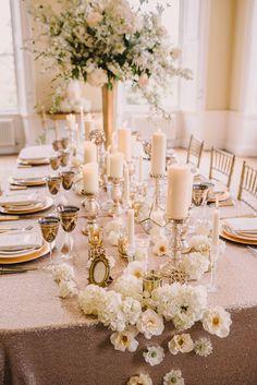 Gold sequin tablecloth and white wedding centerpieces tablescapes. Sequin Wedding, Luxe Wedding, Trendy Wedding, Wedding Ideas, Glamorous Wedding, Elegant Wedding, Wedding Styles, Wedding Reception, Dream Wedding