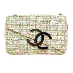 CHANEL Tweed Pochette With Silvertone Hardware