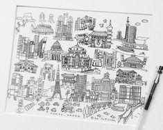 Tokyo City x Tokyo City, Japanese Calligraphy, City Illustration, Etsy Seller, Doodles, Creative, Sketches, Doodle, Doodle Art