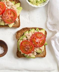 Tuna Avocado Toast with Tomato - a healthy. quick, and easy lunch that's packed with protein and good fats! from @andiemitchell