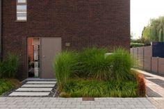 Moderne houtskeletbouw woning, voordeur, halfopen bebouwing | Dewaele Houtskeletbouw