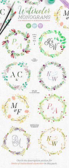 8 Watercolor Wedding Monograms II by The Wedding Shop on @creativemarket