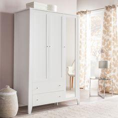 Kleiderschrank Mallund II (mit Spiegel) - Weiß
