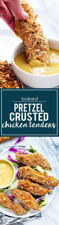 Baked Pretzel Crusted Chicken Tenders | Creme de la Crumb