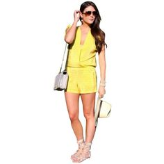 Pre-owned Twelfth St. By Cynthia Vincent Yellow Romper/jumpsuit (€145) ❤ liked on Polyvore featuring jumpsuits, dresses, petite, yellow, petite jumpsuit, twelfth street by cynthia vincent romper, twelfth street by cynthia vincent jumpsuit, yellow romper and romper jumpsuit