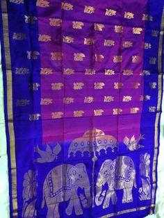 Dark Blue & Magenta Uppada silk saree