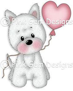 Digi Stamp  Little Millie with Heart Balloon - Cute Terrier Dog. Westie. Cairn Terrier.Birthday. Mothers Day. Valentine's Day