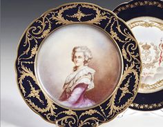 A Sevres plate, painted with a portrait of Marie Antoinette