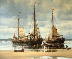 Peter Sterkenburg (1955-2000). De Scheveningen 125 , de Scheveningen 61 en de bomschuit in het midden op het strand van Scheveningen.