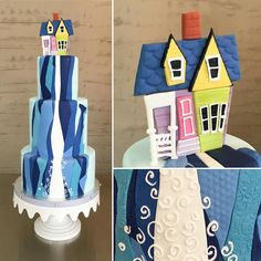 """""""Up"""" themed wedding cake! Lisa based her design on the painting done by Carl's wife in the movie"""