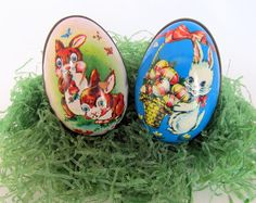 50 Off Sale Vintage Tin Easter Egg Candy Containers by teresatudor, $14.99