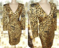 Vintage 80s SILK Animal Print Faux Wrap Dress by IntrigueU4Ever,