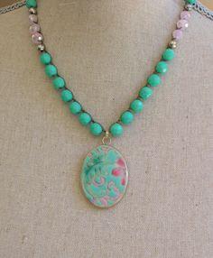 Turquoise crochet necklace, boho chic pendant necklace, Bohemian jewelry, color block, czech glass, pink crystals flower pendant, preppy