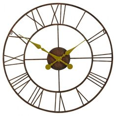 Rustic Metal Wall Clock With Gold Hands - Wanduhr