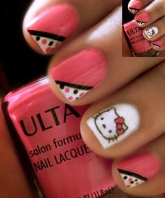 Hello Kitty Nail Art Stickers: Hello Kitty Nail Art For Short Nails ~ Nail Art | http://hairstylehosea.blogspot.com