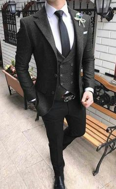 black wool three piece suit for wedding. For inquiry whatsapp or … – [pin_pinter_full_name] black wool three piece suit for wedding. For inquiry whatsapp o… Dark Gray Suit, Black Suits, Black Groomsmen Suits, Dark Grey, Gray Suits, Stylish Men, Men Casual, Smart Casual, Mode Costume