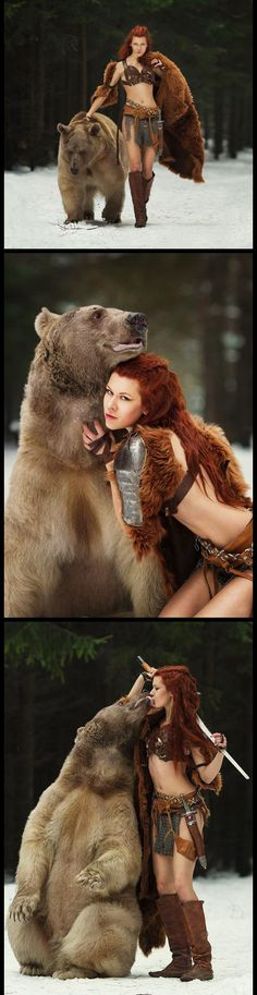 Holy crap-my-pants! That's a real bear! #fantasy #cosplay #Brave #Merida