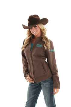 Layer up Tuff Cowgirls! This jacket can be casually worn around the barn or be shown off at your choice rodeo. Soft and durable it pairs perfectly with all your Cowgirl Tuff T-shirts and Jeans. We love this piece and sure you will too with the distinctive Cowgirl Tuff Logo on the front and back.  Never Give Up embroidery complements you in teal stitching. Polyester/spandex outer. Polyester polar fleece lining. Milk chocolate brown.  #cowgirltuff #jacket