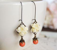 Resin Flower Bouquet Swarovski Orange Coral Pearls Earrings. Creamy Ivory Flower Cabochon Earrings. Vintage Style. Long Kidney Ear wires on Etsy, $18.50