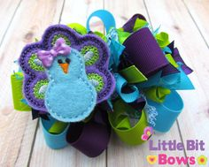 Purple Turquoise and Lime Green Peacock Feltie by LittleBitBows