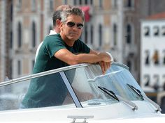 George Clooney on the water Taxi in Venice http://venicegondola.com