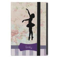 Ballerina Silhouette on Elegant Vintage Pattern iPad Mini Case