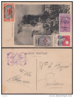 French Equatorial Africa 1930 Used stamps on postcard ( Sanghos women )