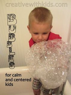 bubbles for calming down kids. Nice idea to try for kids who are fearful of the bath.  Will try next time with my toddler who is currently very upset with bathing