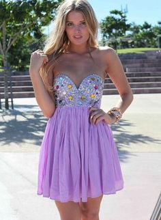 Purple Party Dress - Strapless Dress with Sequin Embellished http://www.ustrendy.com/store/product/69269/strapless-dress-with-sequinjewel-embellished-top