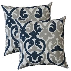 Features:  -Matching front and back.  -Premier Home collection.  -Polyester fiberfill.  -Durable print.  -Made in the USA.  Product Type: -Throw pillow.  Color: -Oxford blue/grey.  Style: -Traditional