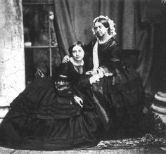 This is Queen Victoria with her eldest daughter, Victoria, born in 1840; the younger Victoria was destined to marry a German prince, become a Queen and Empress, and be widowed relatively early in the saddest of circumstances. The photographic record of her life thus bears an uncanny resemblance to that of her mother.