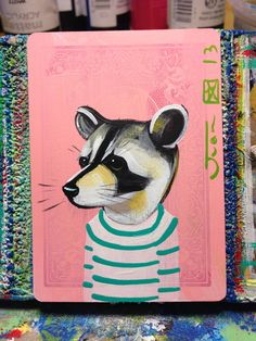 Raccoon portrait N91 on a playing cards. Original acrylic painting. 2013