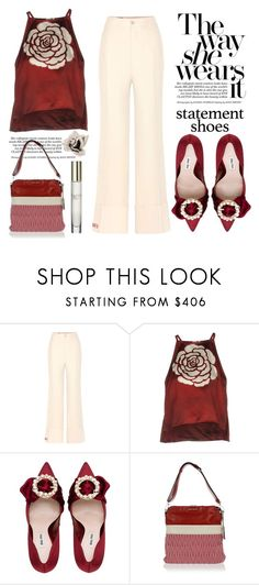 """""""Double Take Statement Shoes"""" by conch-lady ❤ liked on Polyvore featuring Gucci, Miu Miu, statementshoes, doubletake and Thewayshewearsit"""