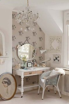 Not a fan of these colors, but.... With dark gray walls a white dressing table with a mirror and chandelier could be beautiful
