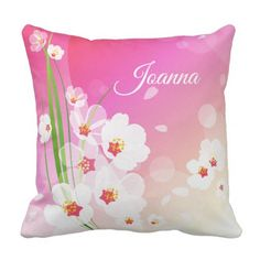 Girly Pink White Floral Collage Throw Pillow - monogram gifts unique design style monogrammed diy cyo customize