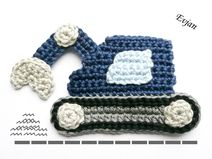 Simple and a beautiful embellishmeht for boys clothes Crochet Car, Crochet Toddler, Crochet Blocks, Crochet For Boys, Crochet Bunny, Crochet Flowers, Crochet Toys, Crochet Applique Patterns Free, Crochet Blanket Patterns