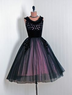 1950's Vintage Black & Pink Beaded Silk-Velvet Net-Tulle Couture Shelf-Bust Plunge Ballerina-Cupcake Full Bombshell Circle-Skirt Party Dress