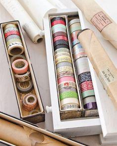 Find creative living ideas, like storing your washi tapes inside antique piano roll boxes, inside Somerset Life. Diy Washi Tape Decor, Diy Washi Tape Projects, Washi Tape Uses, Washi Tape Crafts, Washi Tapes, Diy Washi Tape Storage, Craft Room Storage, Craft Organization, Organizing Tips