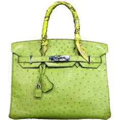 Hermes 30cm Lime Green Ostrich Leather Birkin Bag found on Polyvore